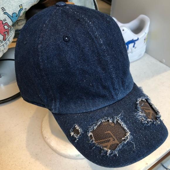 8ffeef774ee Authentic LV Fabric Repurposed Hat